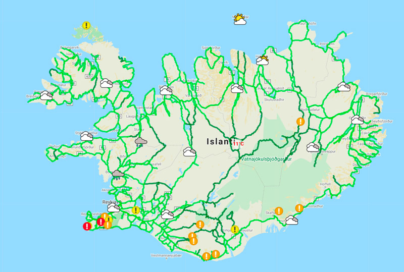 Islannin tiekartta